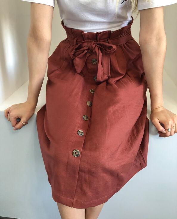 Halflange rok met knopen roestkleur