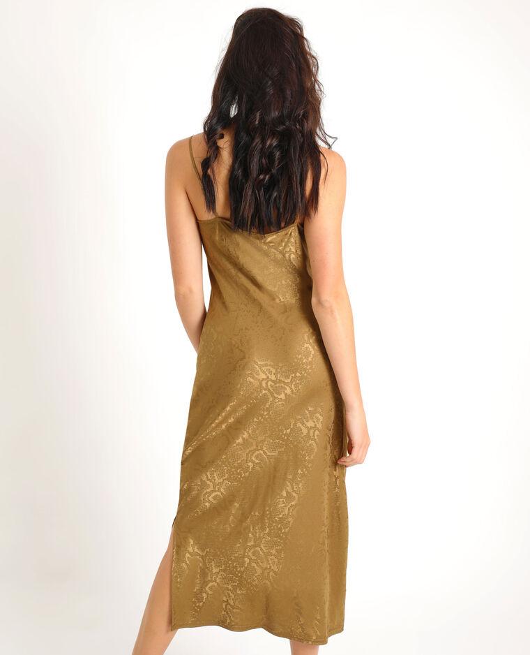 Robe longue imprimée python kaki