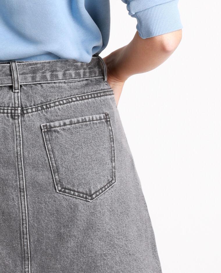 Jeansrok met riem antracietgrijs