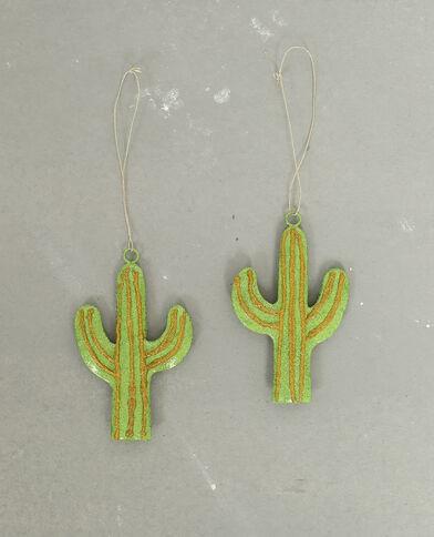 Set van 2 decoratieve cactussen groen