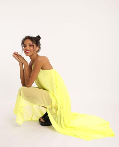 Lange, lichte jurk Fluor geel