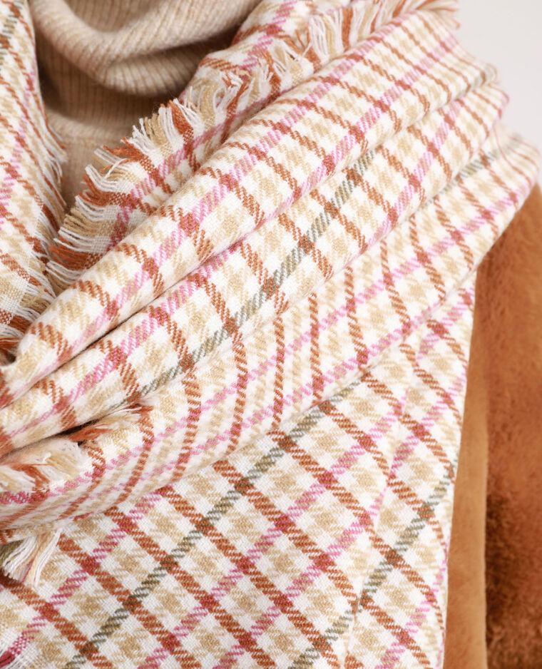 Sjaal met ruitjes kastanjebruin