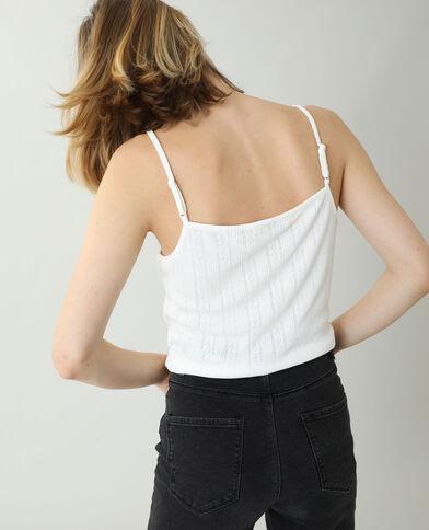 Top met dunne schouderbandjes en kant gebroken wit - Pimkie