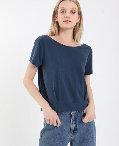 T-shirt met open rug donkerblauw