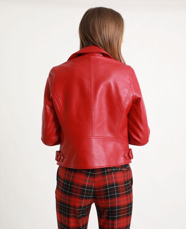Veste biker en simili cuir rouge