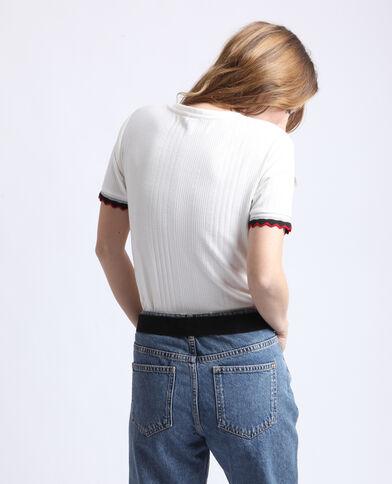 T-shirt en maille côtelée blanc cassé
