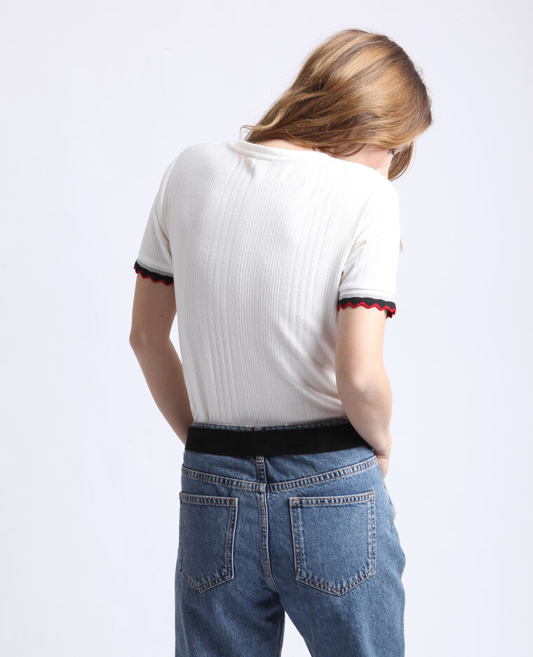 T-shirt en maille cotelée blanc cassé