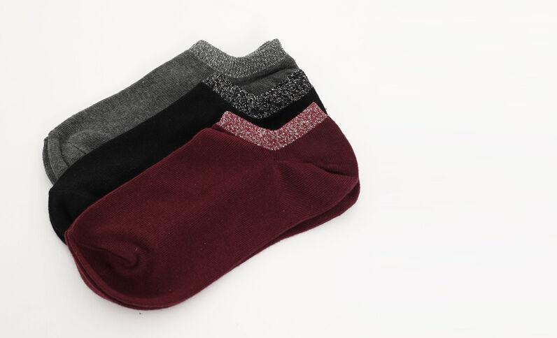 Set van 3 paar lage sokken grijs