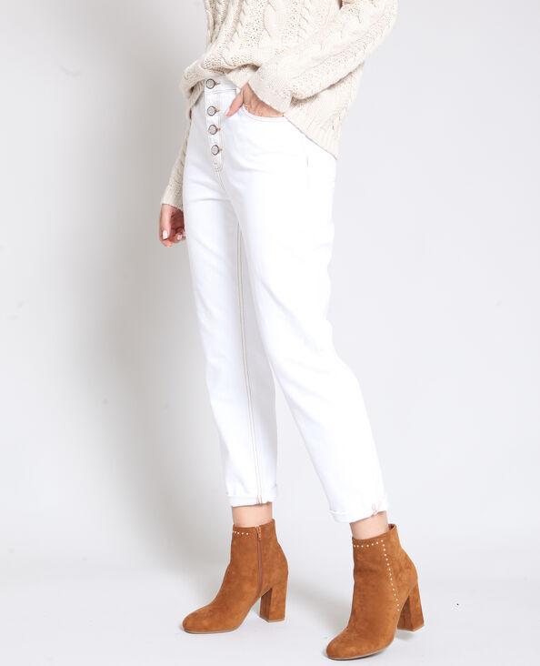 Pantalon boutonné écru
