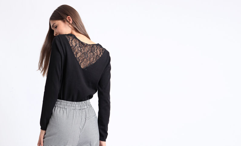 Kanten trui zwart