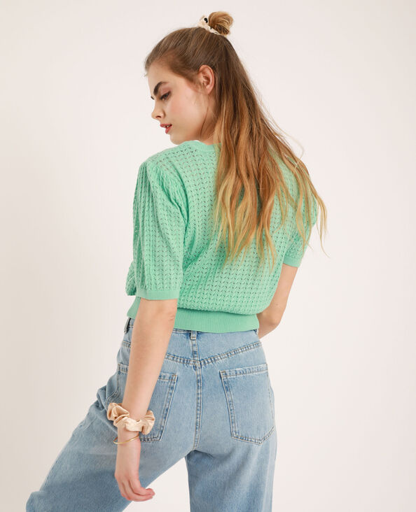 Pull à manches courtes bleu turquoise