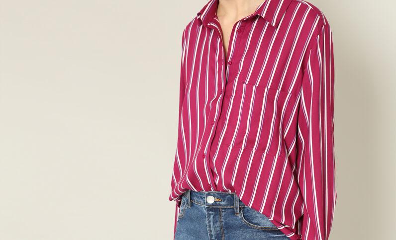 Chemise à rayures framboise