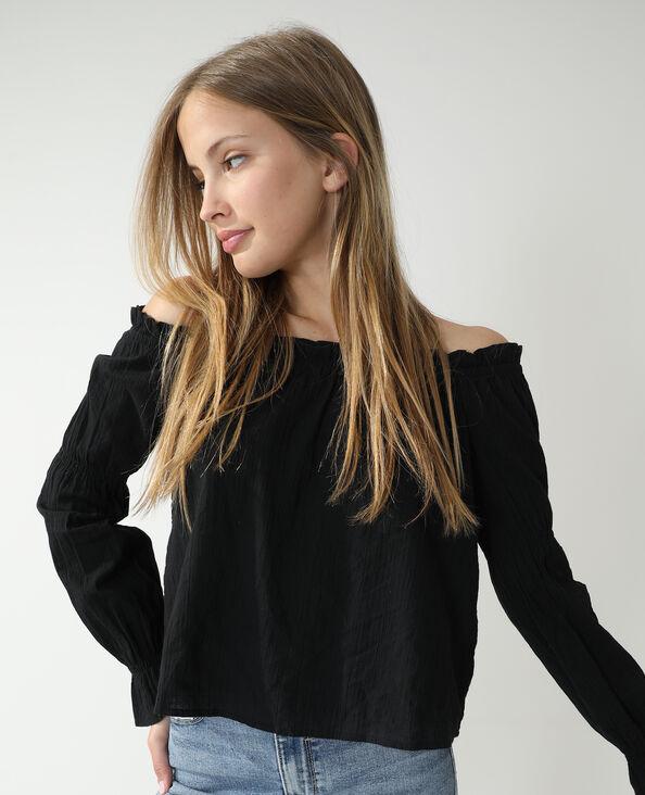 Gefronste blouse zwart - Pimkie
