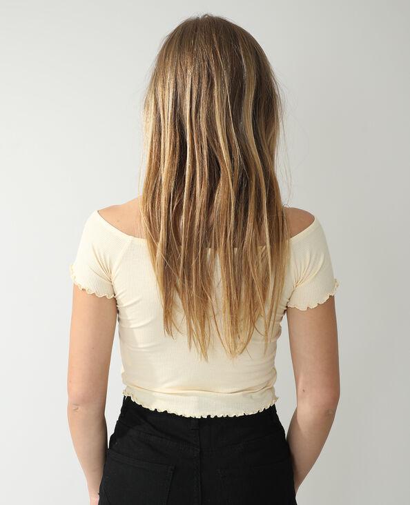 T-shirt côtelé jaune pâle - Pimkie