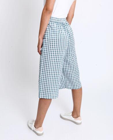 Jupe culotte à carreaux vert d'eau