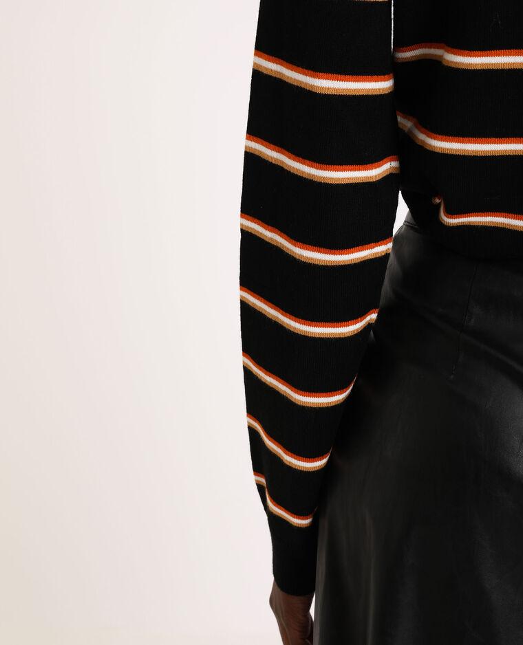 Gestreepte trui met rolkraag zwart - Pimkie