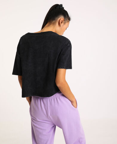 T-shirt cropped One Piece gris anthracite