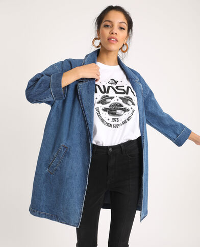 Lange jeansjas denimblauw
