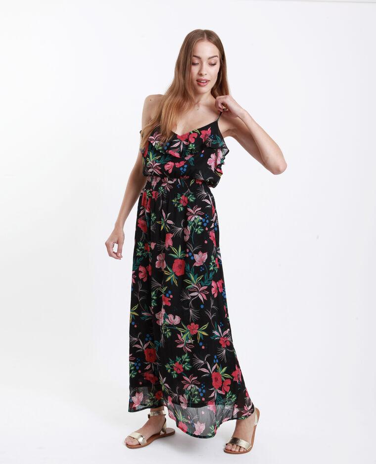 Lange jurk met ruche grijs