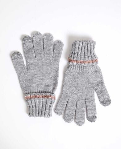 Gants bicolore gris chiné