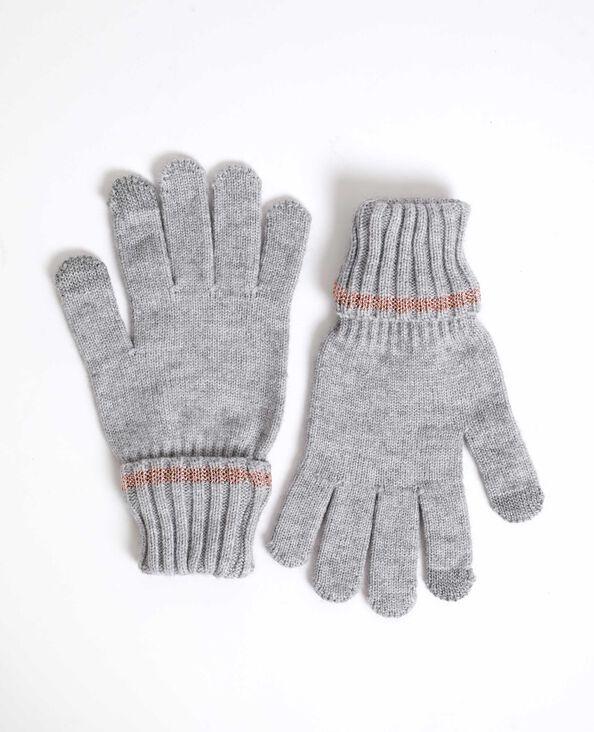Tweekleurige handschoenen gemêleerd grijs
