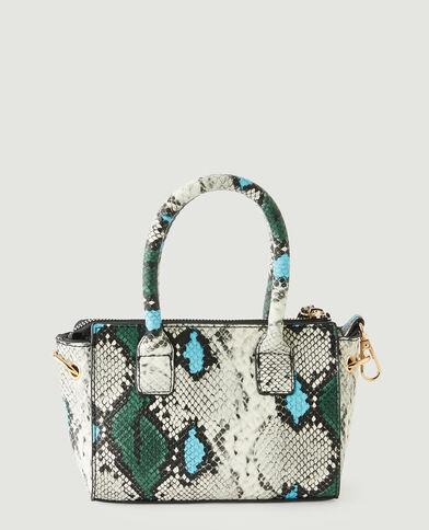 Kleine handtas met reptielenleereffect blauw - Pimkie