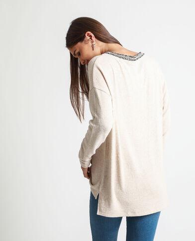 T-shirt met lange mouwen beige