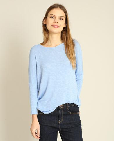T-shirt met vleermuismouwen hemelsblauw
