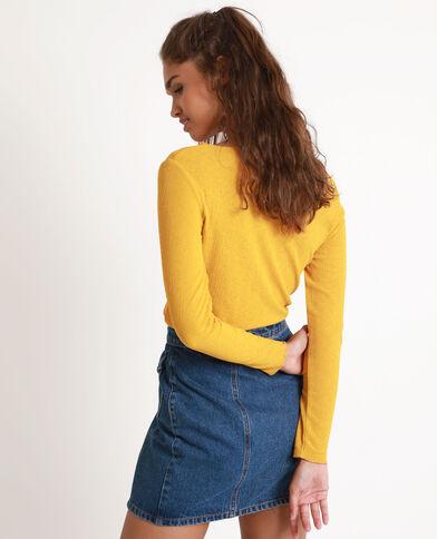 Shirt met strikje geel