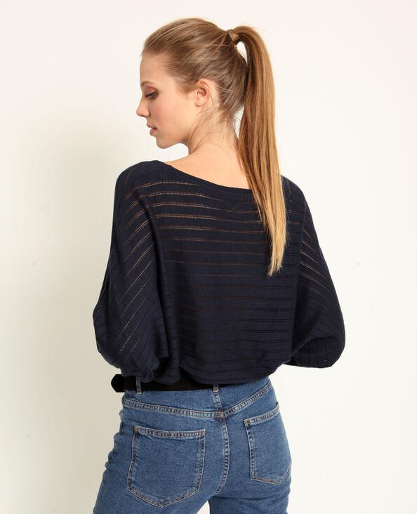 Opengewerkte dunne trui marineblauw