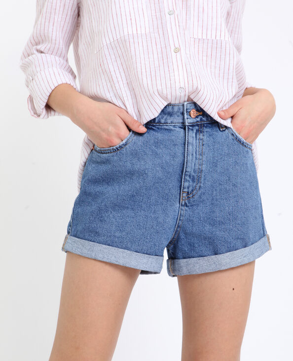 Short en jean high waist bleu denim