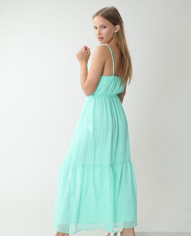 Lange jurk van wafelstof groenblauw - Pimkie