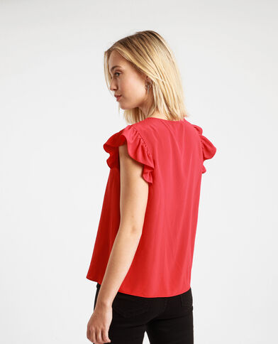 Topje met ruches Rood