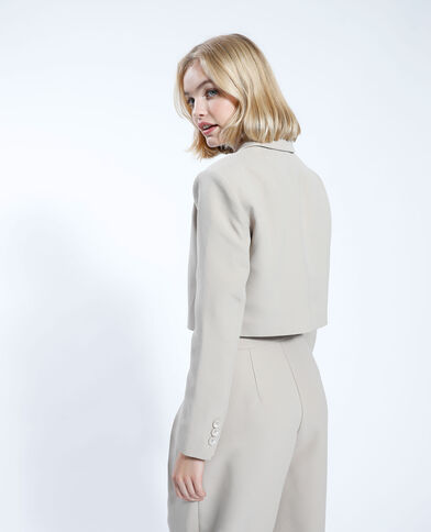 Oversized en cropped blazer beige - Pimkie