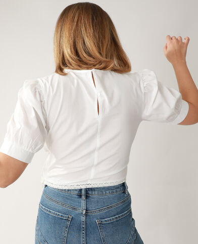 Korte geborduurde blouse gebroken wit - Pimkie