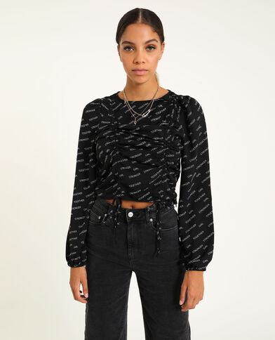 Cropped blouse zwart