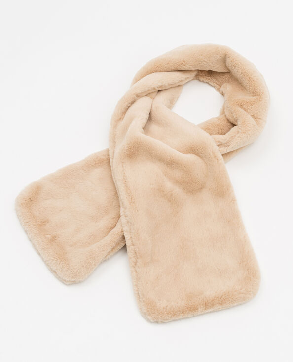 Sjaal van imitatiebont beige