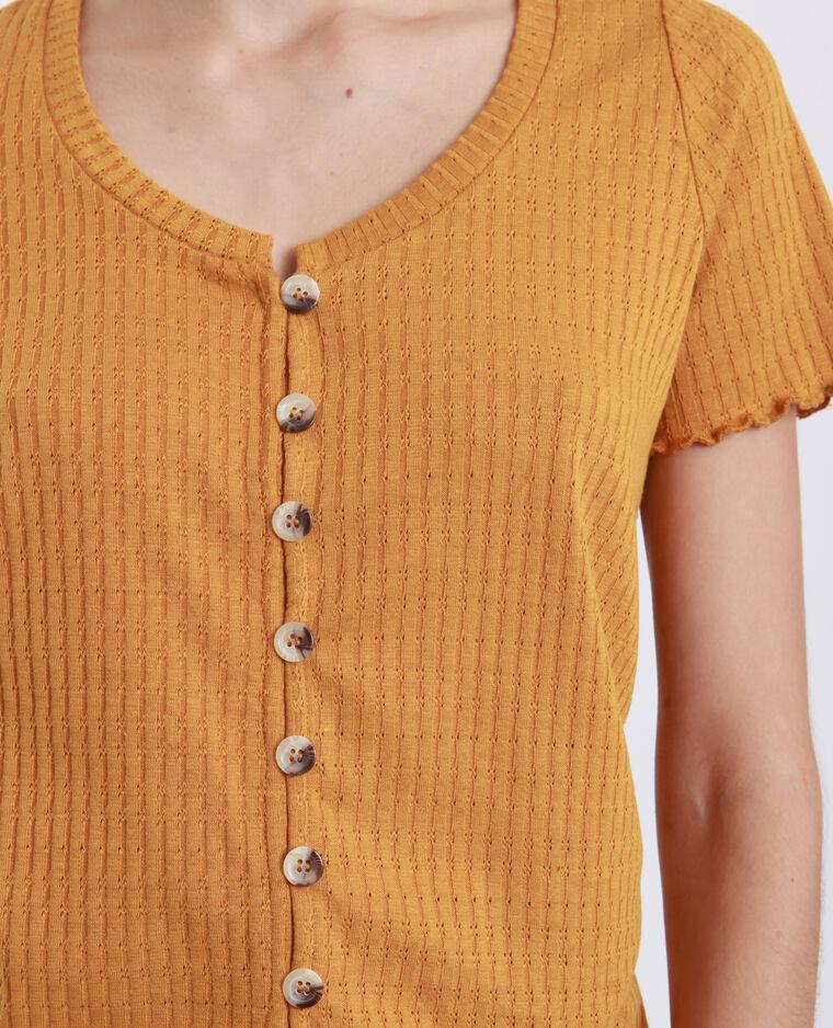 T-shirt à boutons jaune