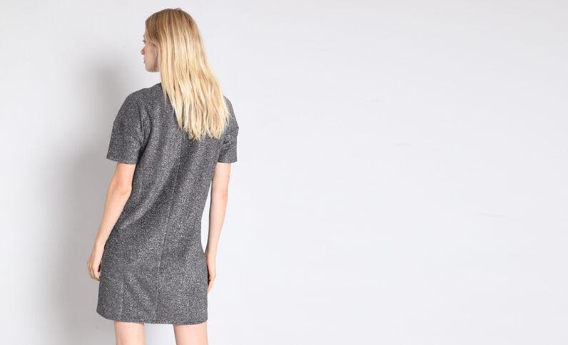 Gemetalliseerde jurk met opschrift grijs