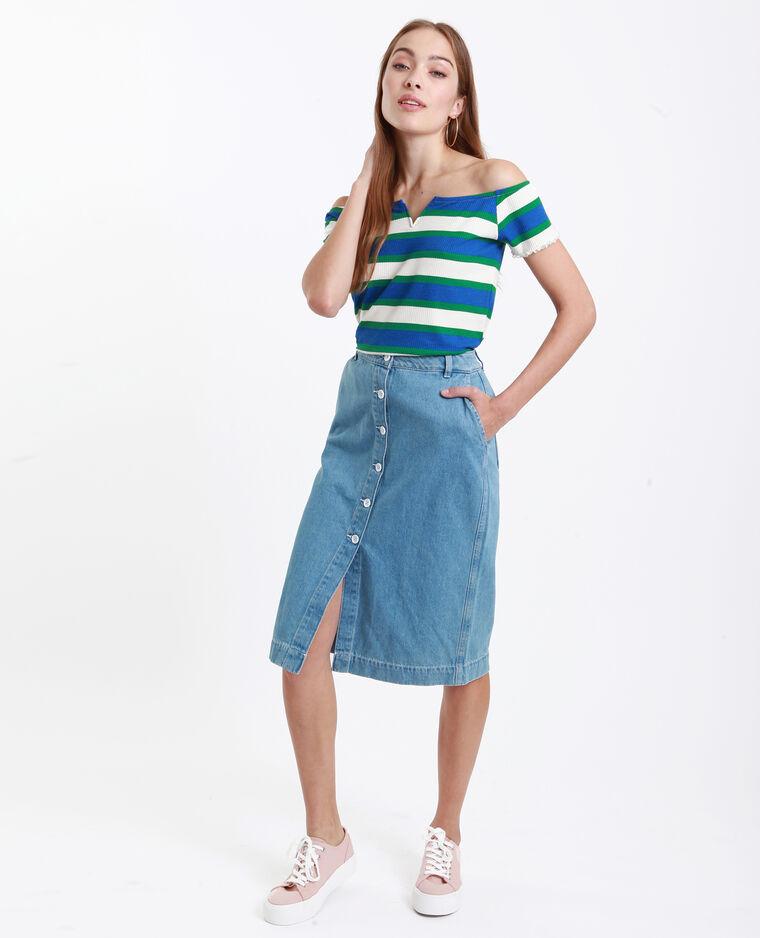 Jupe en jean midi bleu denim