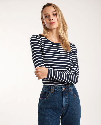 Gestreept T-shirt marineblauw