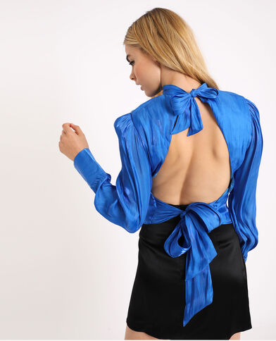 Kort shirt met open rug blauw