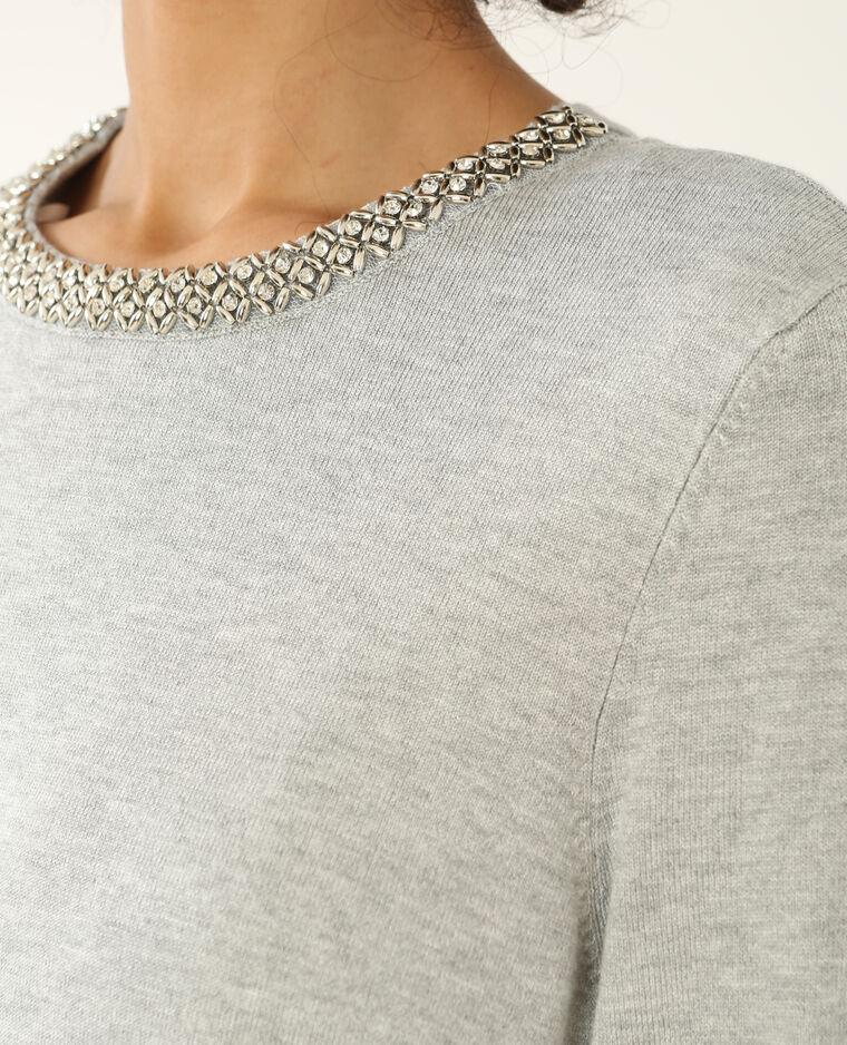 Pull col bijoux gris chiné
