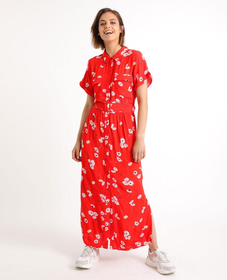 Robe longues à manches courtes rouge