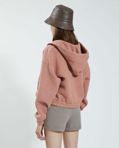 Sweater van molton met kap en rits oud roze - Pimkie