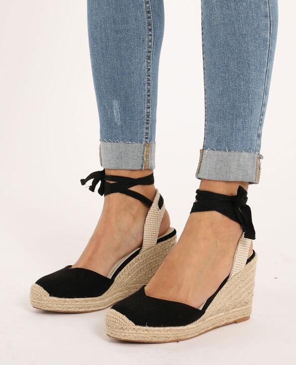 Sandalen met sleehak van stro zwart - Pimkie