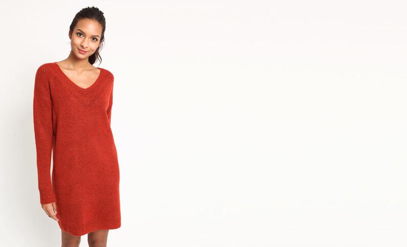 Trui-jurk met V-hals roestkleur
