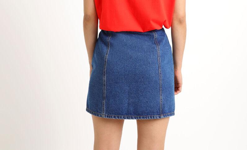 Jupe en jean à poches bleu brut