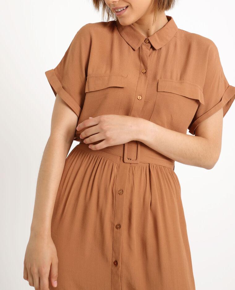 Lange jurk met korte mouwen karamel