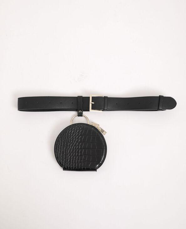 Rond heuptasje met schouderband zwart